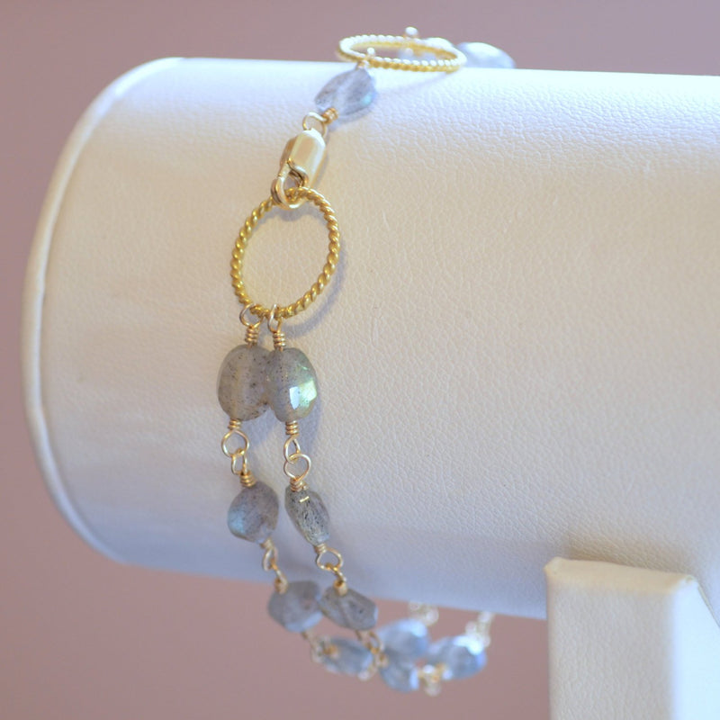 Labradorite Bracelet and Grey Gemstone