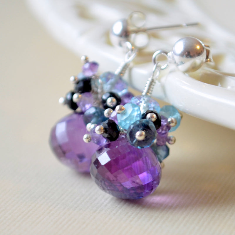Amethyst Drop Earrings with Sterling Silver Posts - Purple Peacock