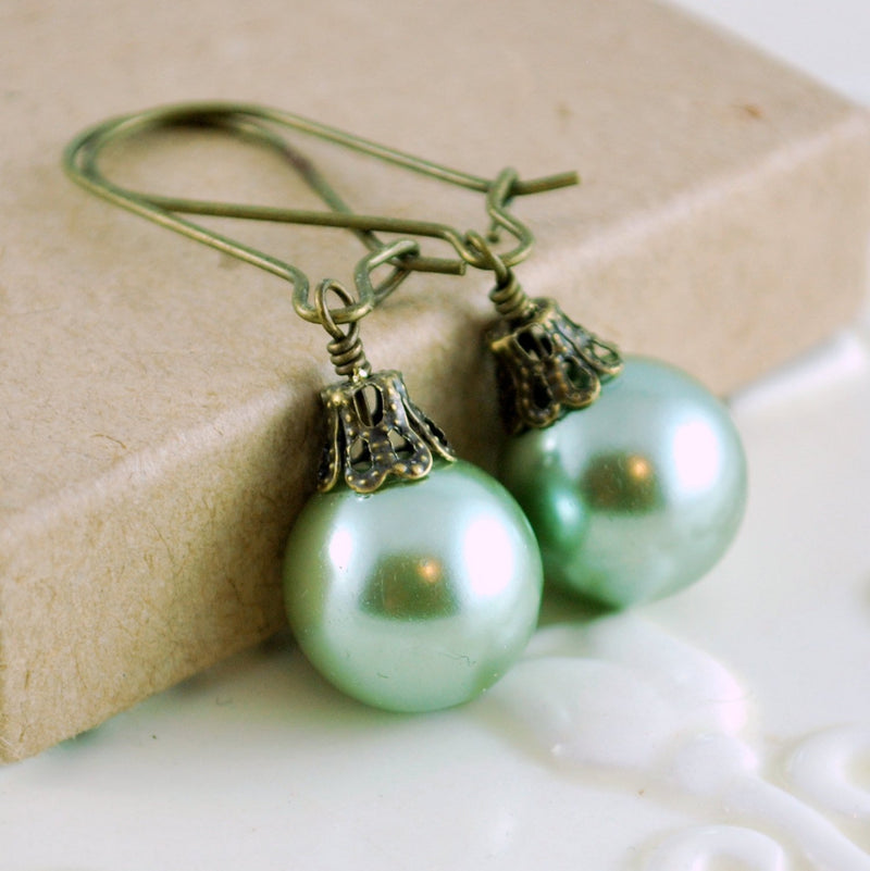 Christmas Earrings with Mint Green Glass Pearl