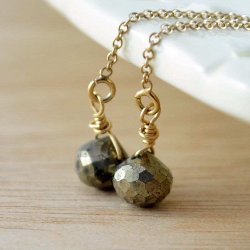 Iron Pyrite Gemstone Threader Earrings