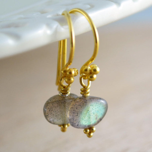 Labradorite Jewelry, Gold Vermeil Drop Earrings with Smooth Gemstone Pebbles