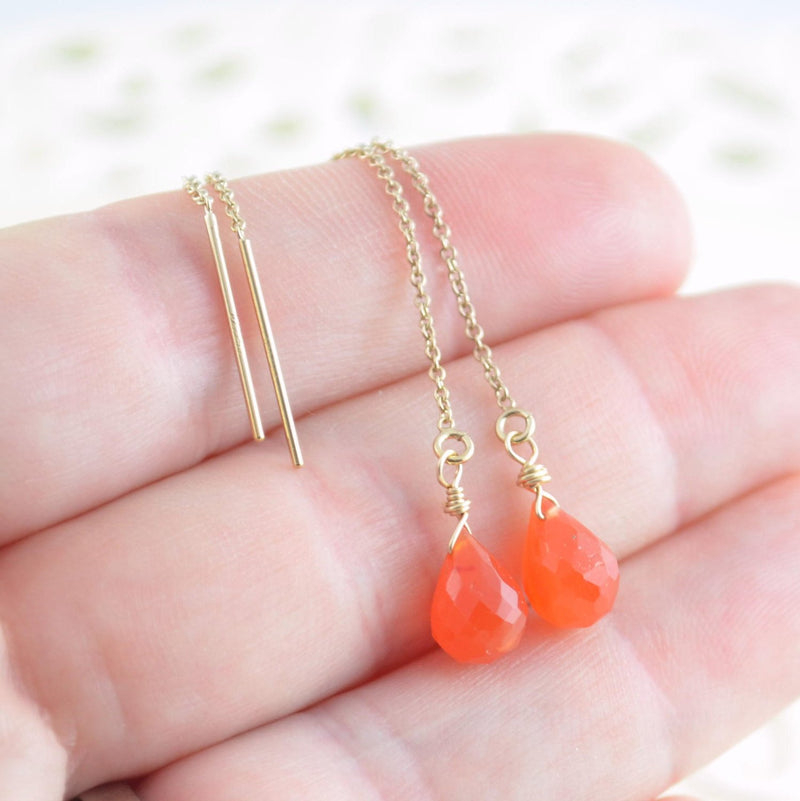 Carnelian Earrings and Gemstone Threaders