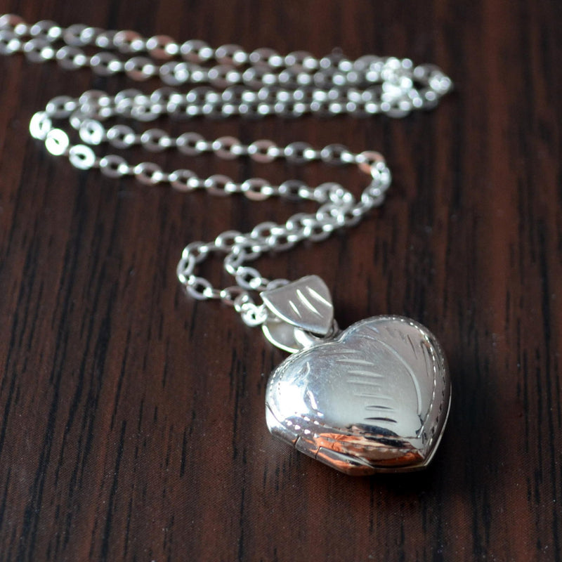 Heart Shaped Locket Necklace in Sterling Silver