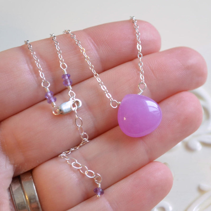 Jade Necklace with Radiant Orchid Pink Stone