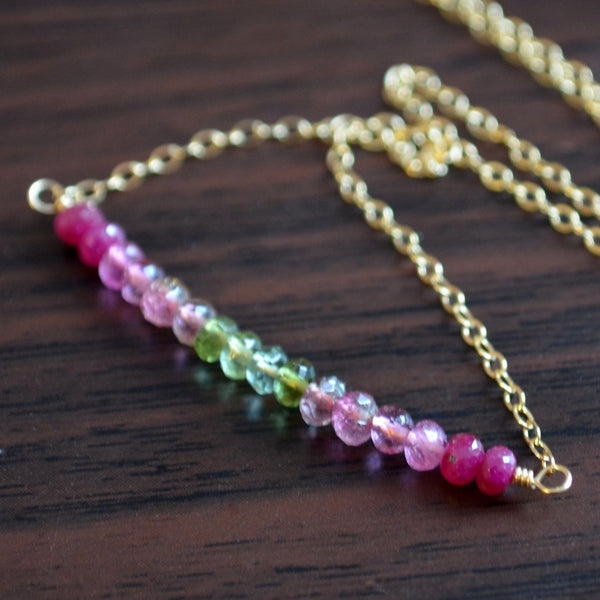 Gemstone Necklace with Genuine Ruby and Tourmaline