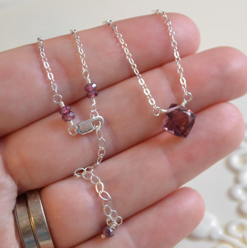 Plum Quartz Necklace and Cushion Cut Kunzite
