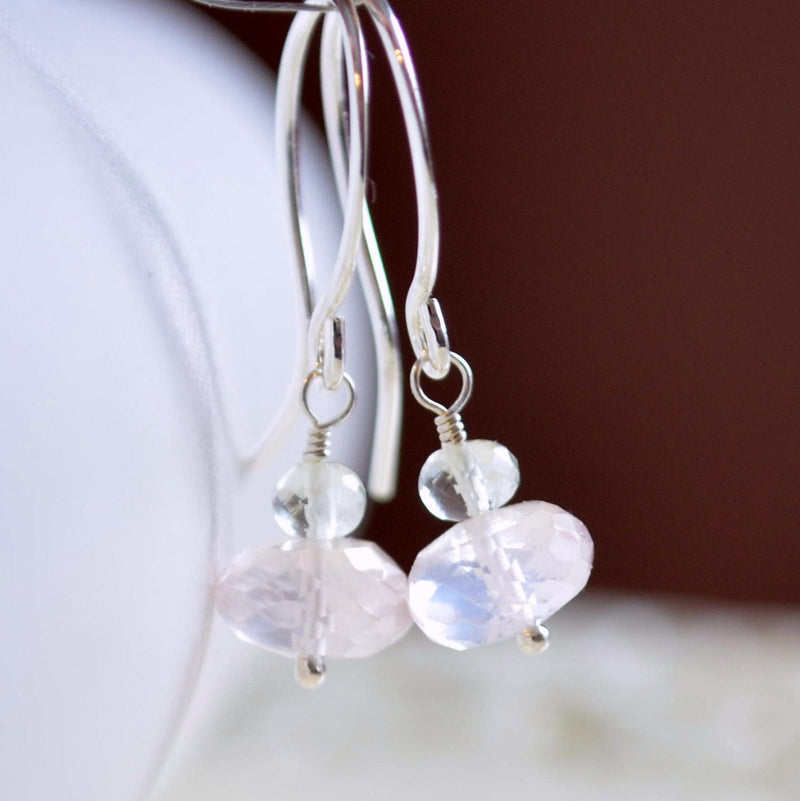 Rose Quartz Earrings, Green Amethyst Gemstone