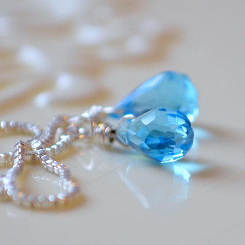 Swiss Blue Topaz Earrings, Genuine Gemstone Threaders