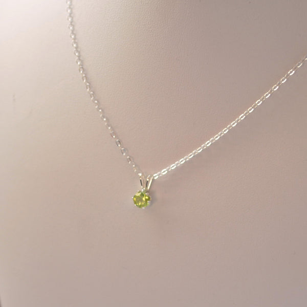 Classic Peridot Pendant Necklace in Sterling Silver