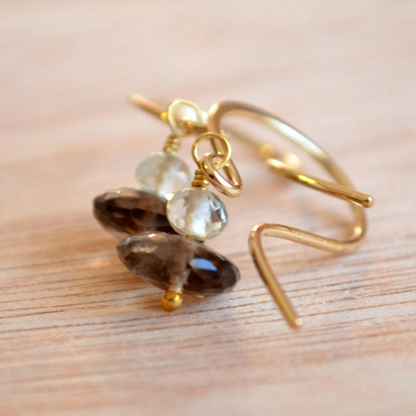 Smoky Quartz Earrings, Green Amethyst Gemstone