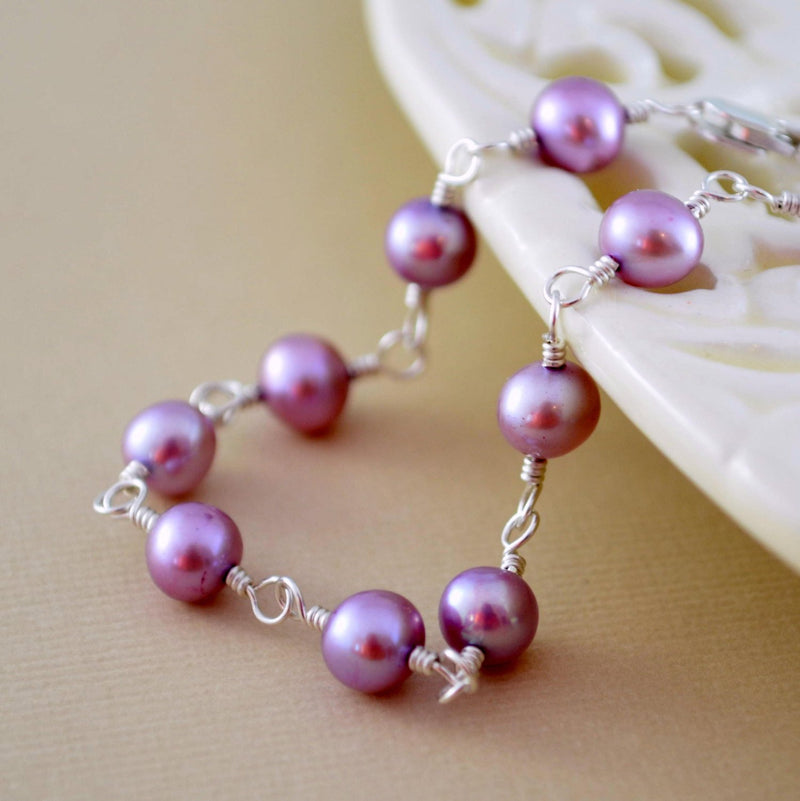 Lavender Pearl Bracelet for Flower Girls