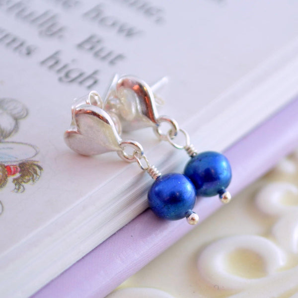 Royal Blue Pearl Dangle Earrings