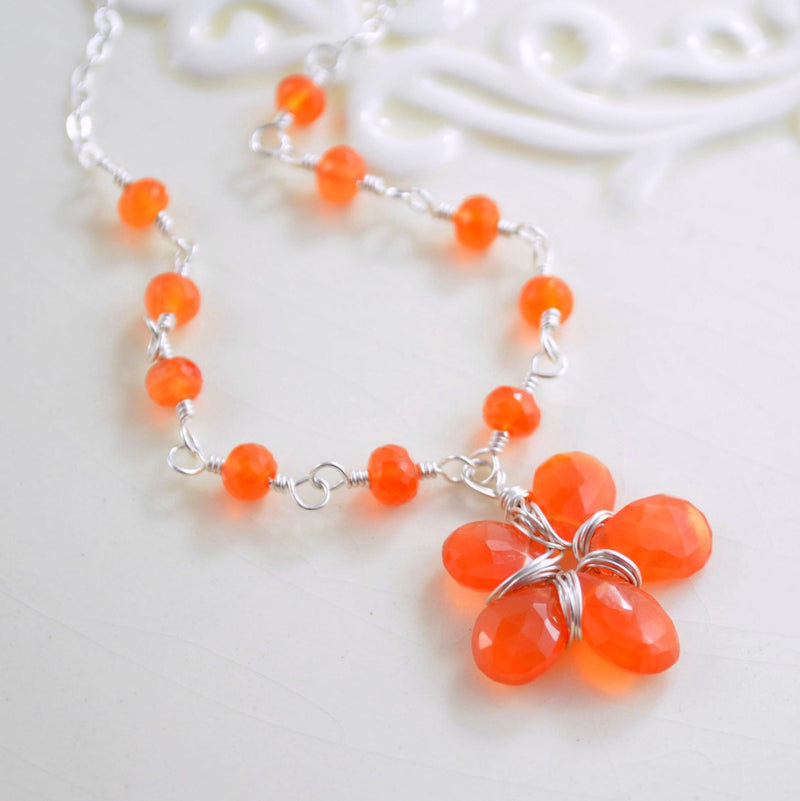 Orange Flower Girl Necklace with Carnelian Gemstones