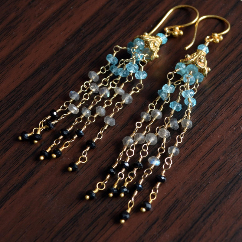 Tassel Earrings, Apatite Labradorite Black Spinel Stones