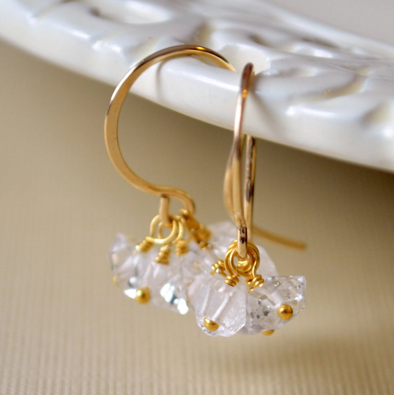Herkimer Diamond Earrings with Quartz Gemstone Cluster