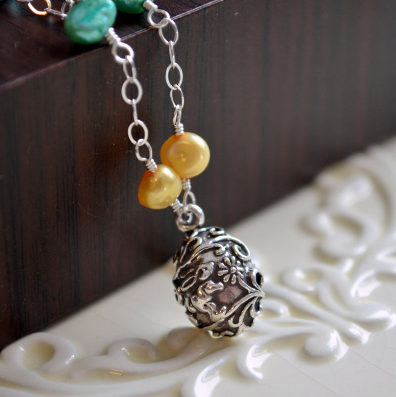 Easter Necklace for Girls with Yellow and Blue Freshwater Pearls
