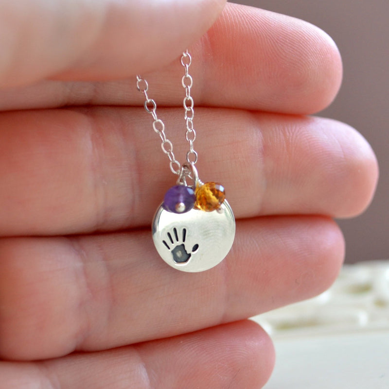 Necklace for Mom with Sterling Silver Handprint Charm