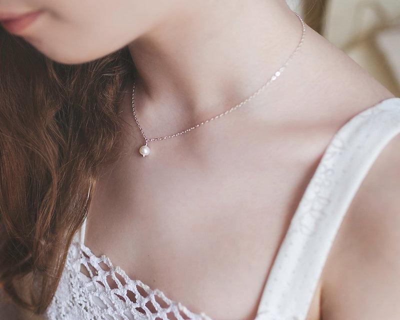 Simple Drop Pearl Necklace for Girls