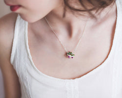 Real Ruby Necklace with Pearl Flower Blossom