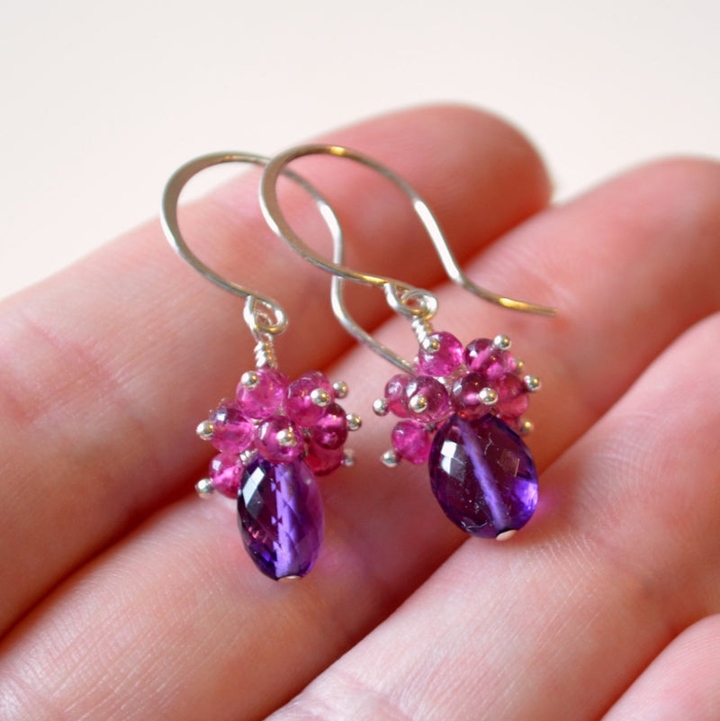Genuine Amethyst Earrings with Pink Tourmaline Clusters