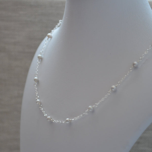 Dainty Silver Pearl Necklace for Girls