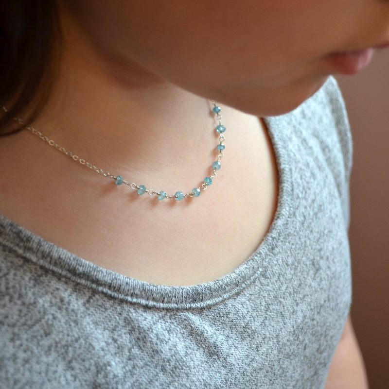 Blue Zircon Necklace for Child