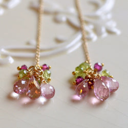 Gemstone Threader Earrings with Pink Topaz and Peridot Rhodolite