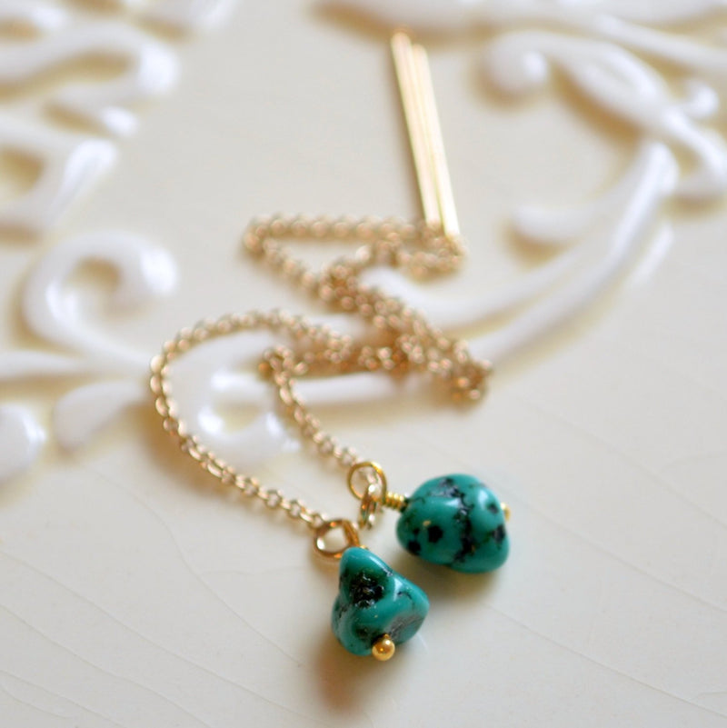 Turquoise Earrings with Genuine Aqua Gemstone Nugget
