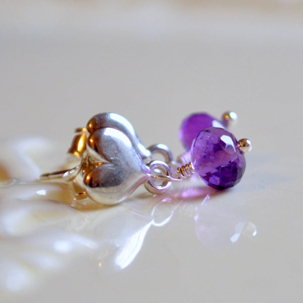 Amethyst Dangle Earrings in Sterling Silver