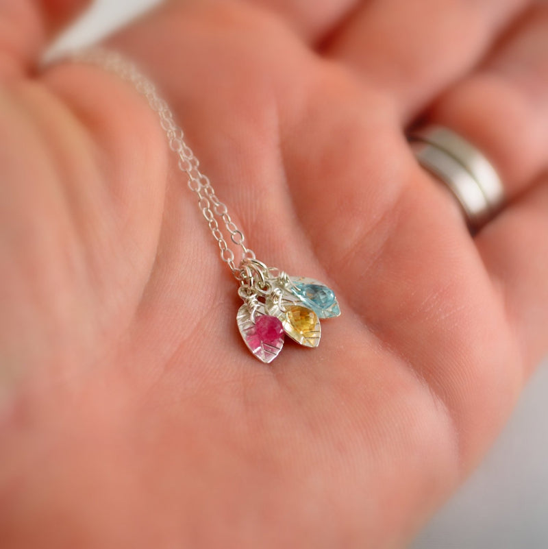 Family Necklace with Leaf Charms and Birthstones