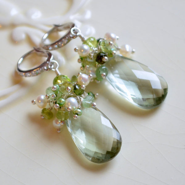 Green Amethyst Bridal Earrings with Peridot and Tourmaline - Spring Greens