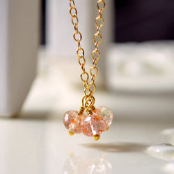 Sunstone Necklace, Genuine Gemstone Trio