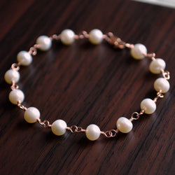 Classic White Pearl Bracelet in Rose Gold, Gold or Sterling Silver - Elegance