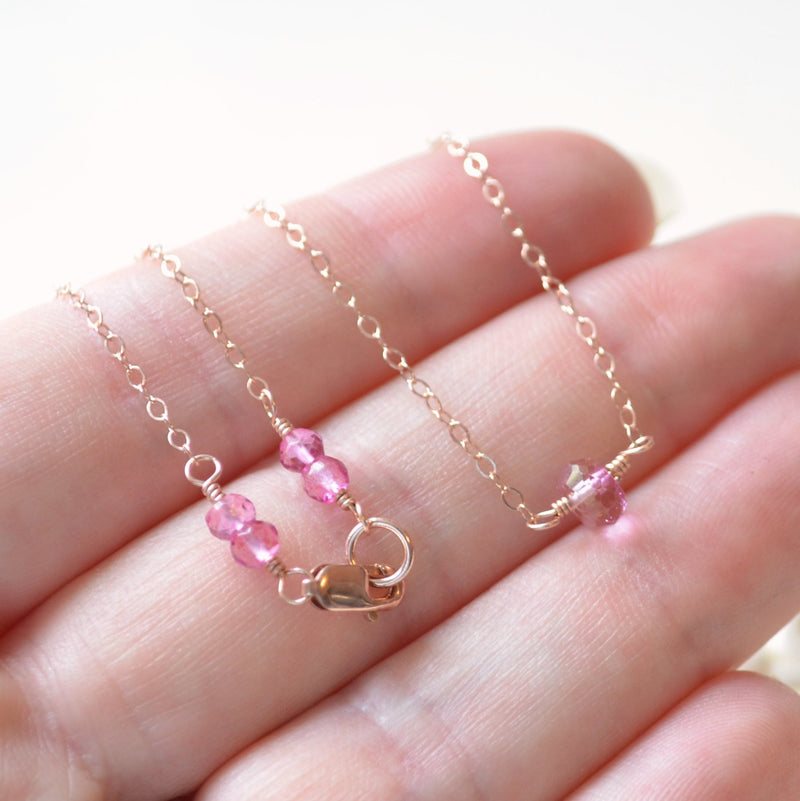 Rose Gold Choker, Pink Topaz Necklace