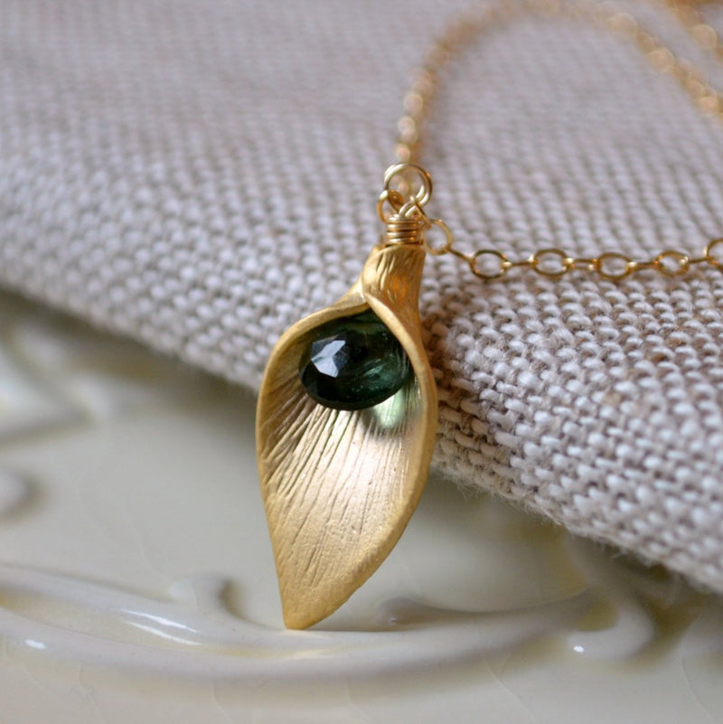 Emerald Green Bridesmaid Necklaces with Gold Calla Lily
