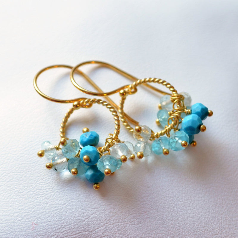 Blue Turquoise Earrings with Genuine Gemstones