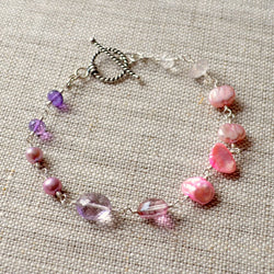 Purple and Pink Bracelet with Gemstones and Pearls - Changing Bouquet