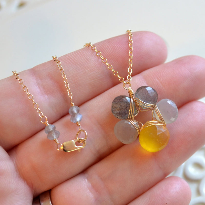 Flower Necklace Labradorite, Moonstone, and Chalcedony