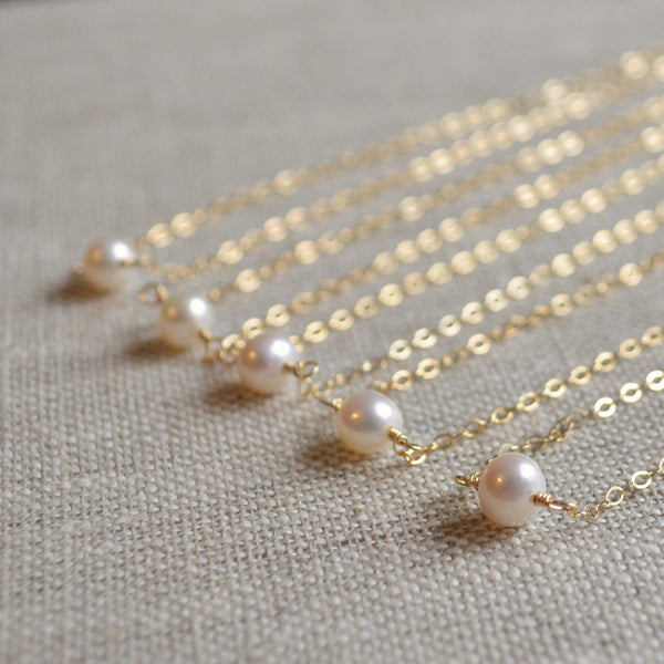 Real Pearl Bridesmaid Choker Necklace in Gold or Sterling Silver