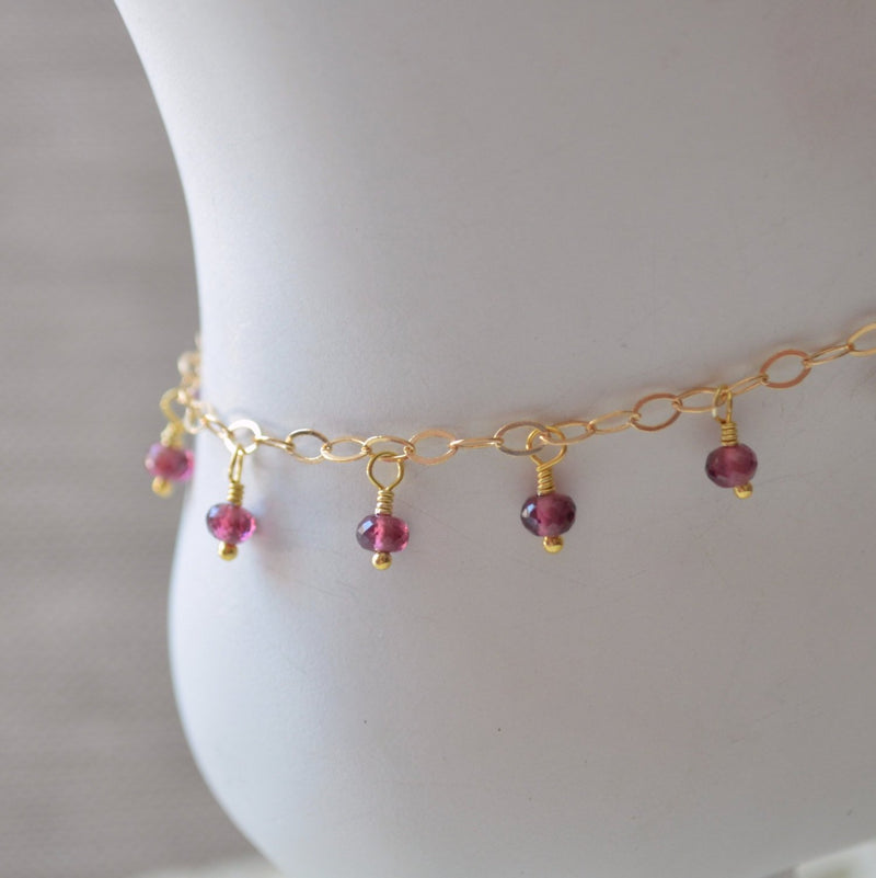 Garnet Anklet and Genuine Dark Red Gemstone Dangle