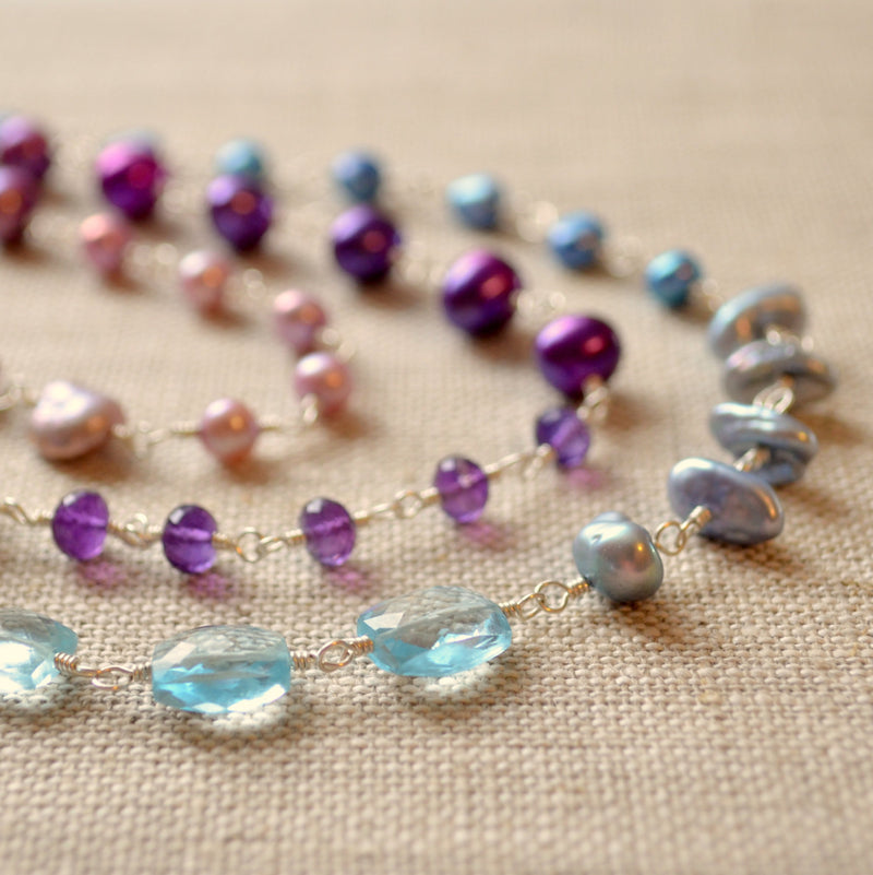 Long Purple Blue and Lavender Necklace- Changing Winter