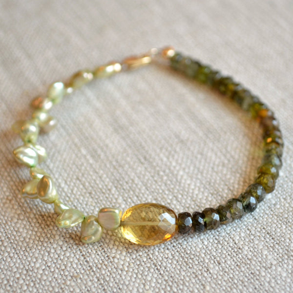 Beaded Tourmaline Bracelet with Honey Quartz Gemstones