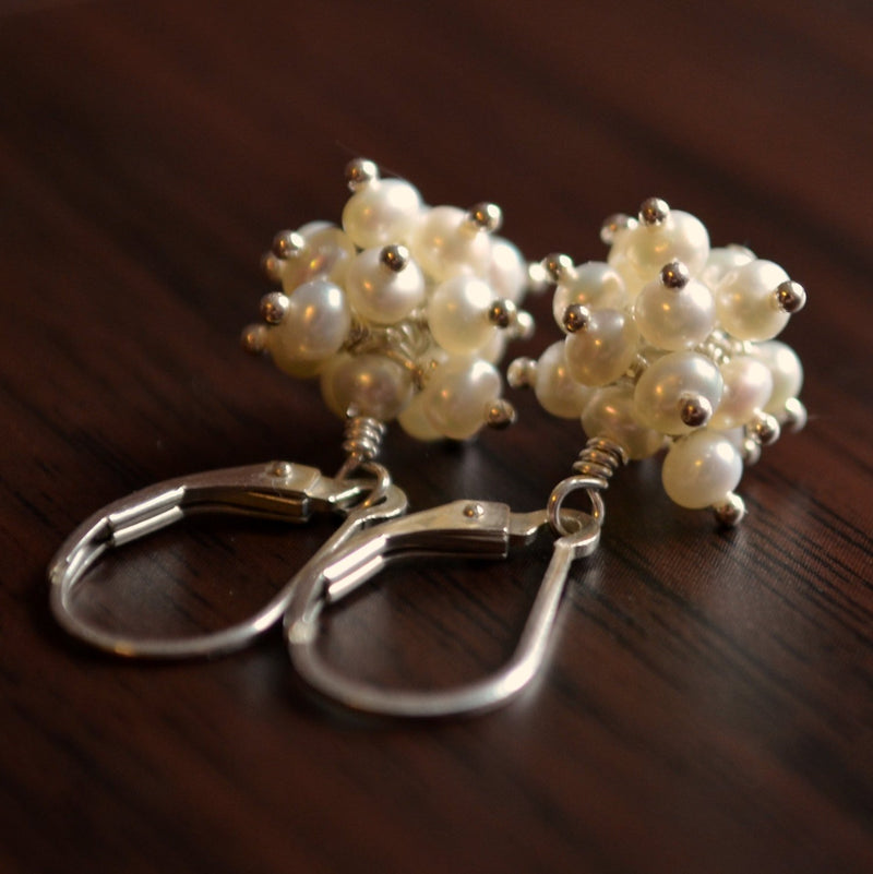 White Pearl Cluster Earrings in Sterling Silver- White Berries