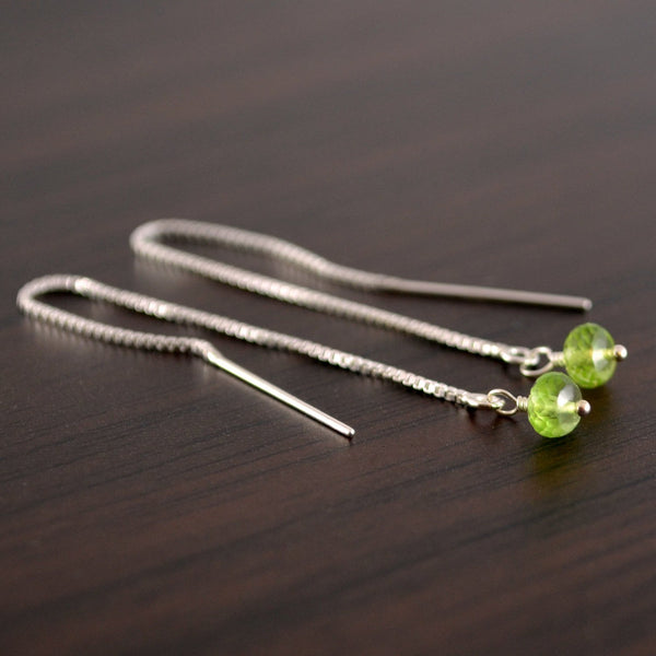 Dainty Peridot Threader Earrings