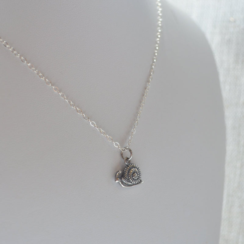 Cute Snail Necklace in Sterling Silver