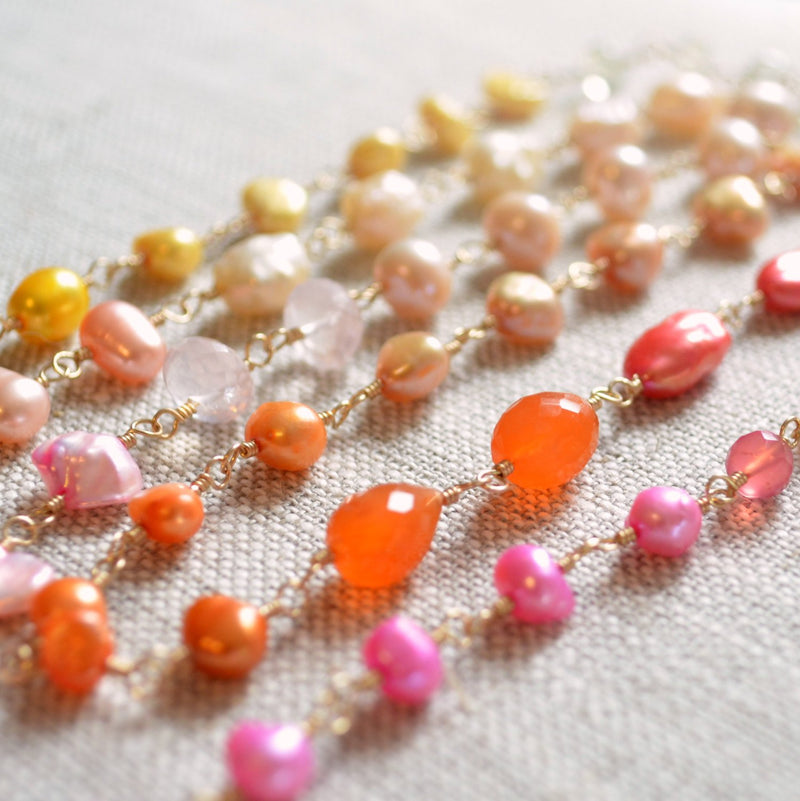 Long Coral Pink Orange and Yellow Necklace - Changing Sunrise