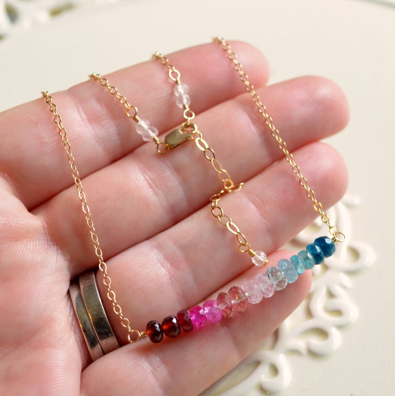 Gemstone Necklace in, Red Pink, Aqua, Garnet Ruby, Pink Topaz and Aquamarine