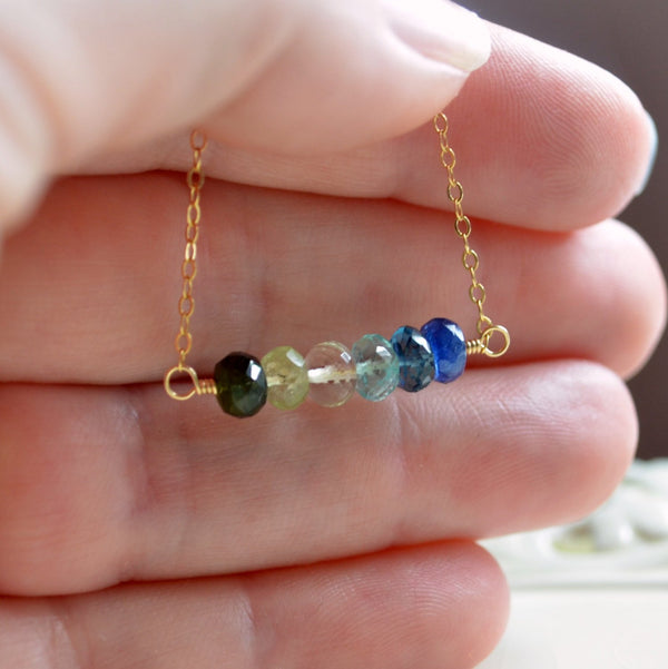 Blue and Green Gemstone Necklace
