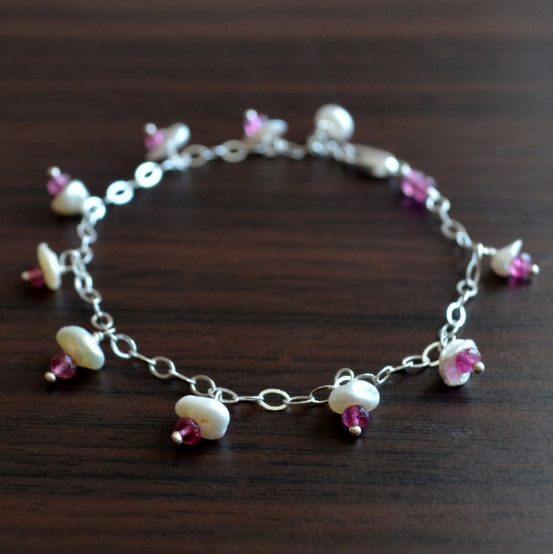 Pink Tourmaline and Pearl Bracelet for Girls