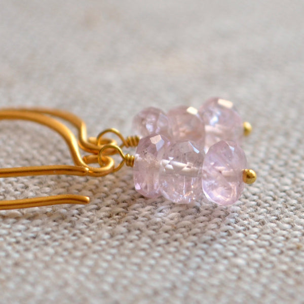 Blush Pink Earrings with Aquamarine Gemstone